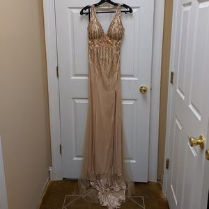 long, sequined champagne colored formal dress